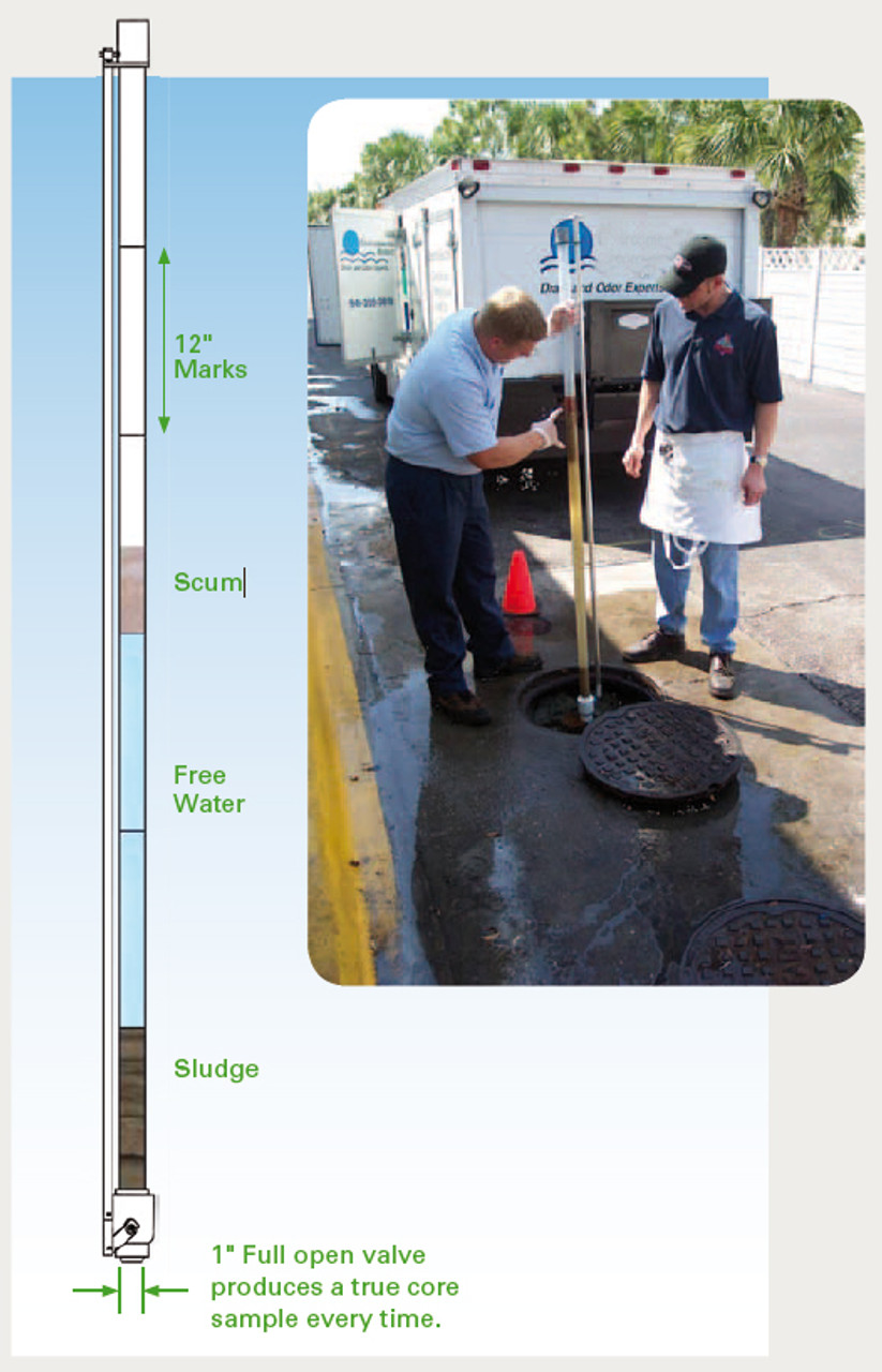 DipStick Pro™ Grease Trap & Tank Sampler to measure Sludge (6 feet long)