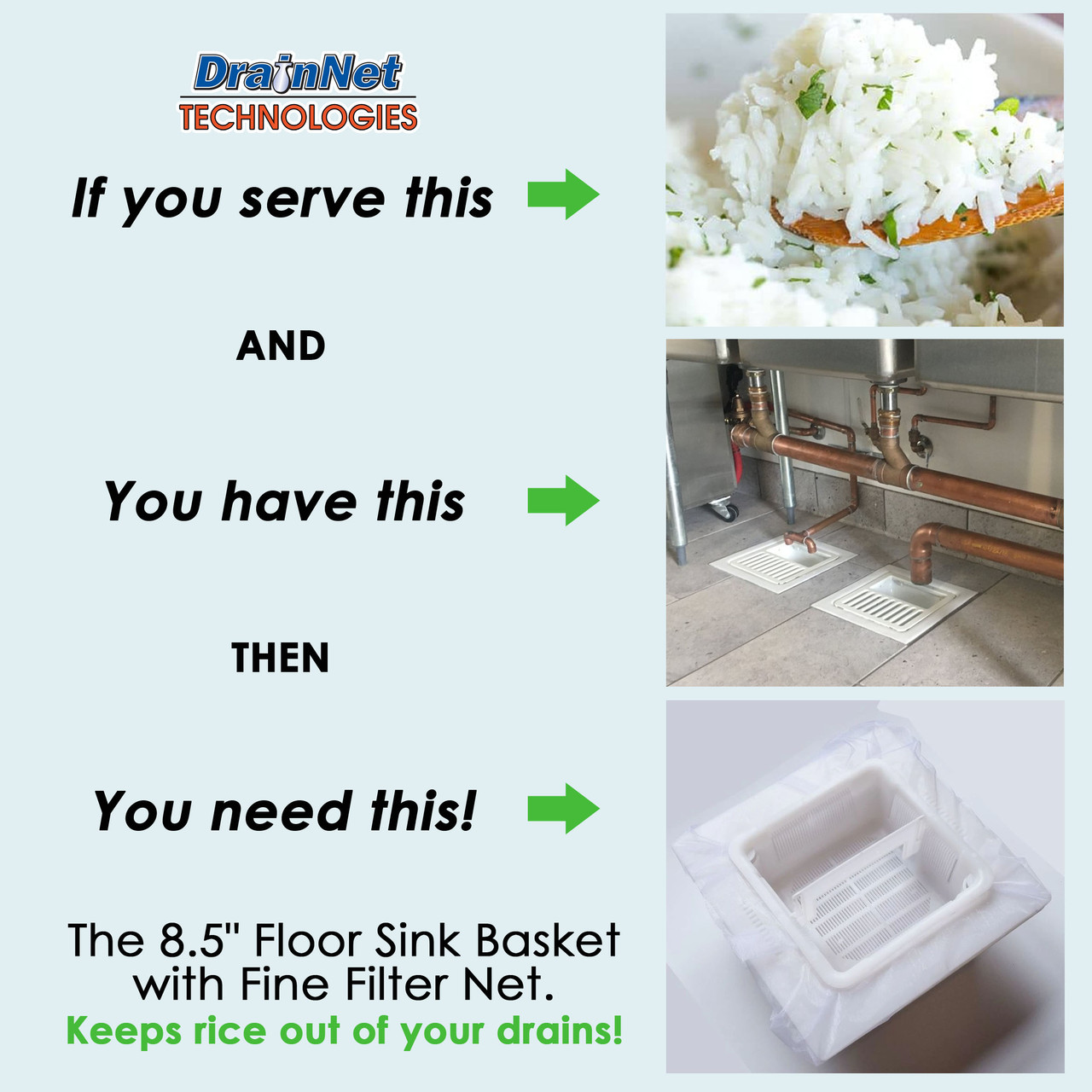 "8.5"" Floor Sink Basket with Fine Filter Net"