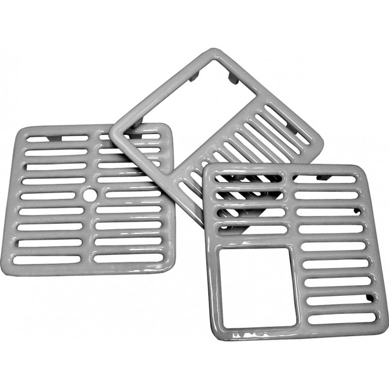 "Floor Sink Grate - Cast iron porcelain with ceramic surface 9-3/8"" fits most 12"" x 12"" floor sinks"