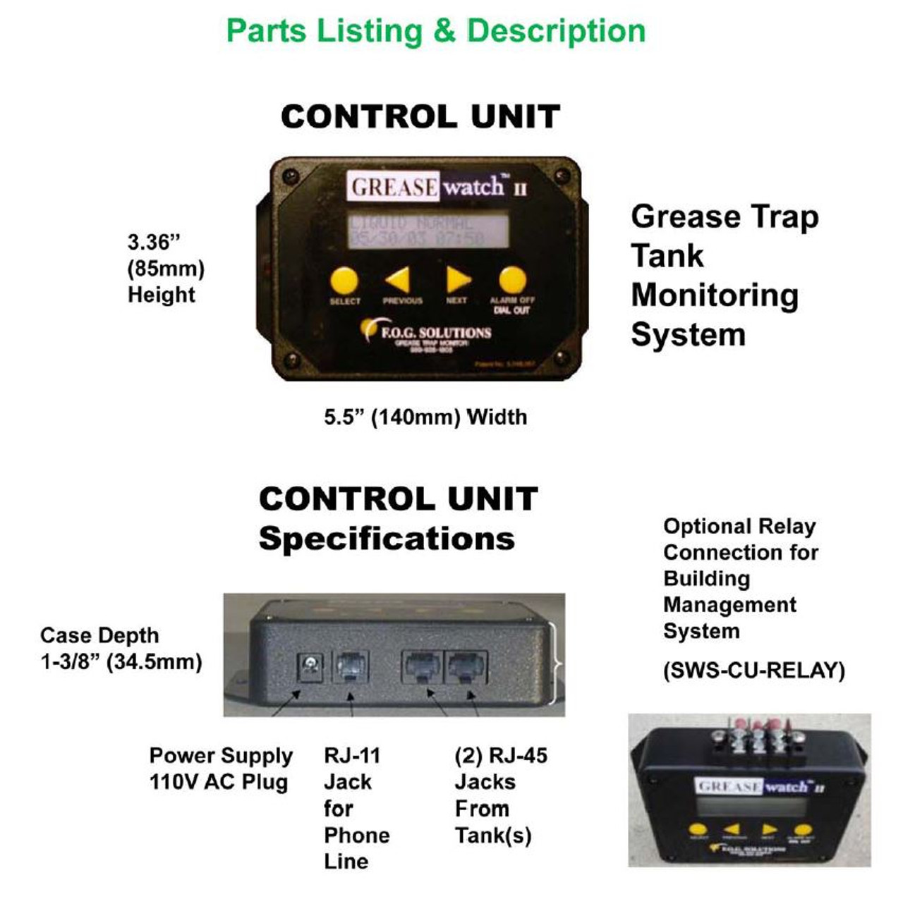 GreaseWatch 2 (Grease Trap Monitoring Alarm with Local Alarm Display)