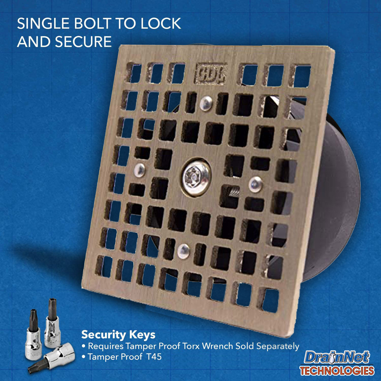"GDL LockOut - Square Josam 4.65"" - Drain Lock with Bug and Odor Blocker"