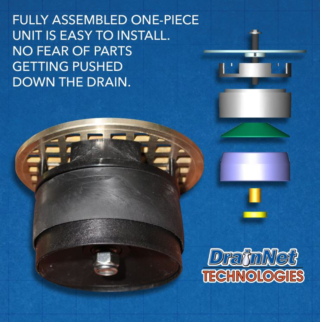 """GDL LockOut - Round Josam 4.65"""" - Drain Lock with Bug and Odor Blocker"""
