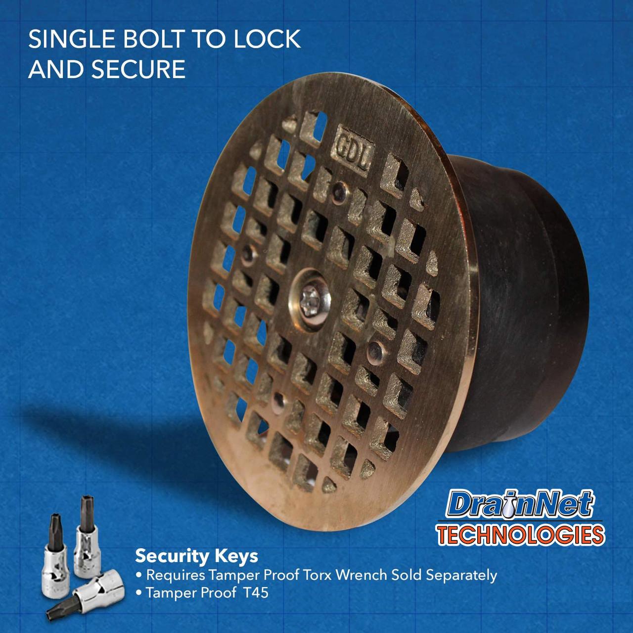 """GDL LockOut - Round Zurn 5.0"""" - Drain Lock with Bug and Odor Blocker"""