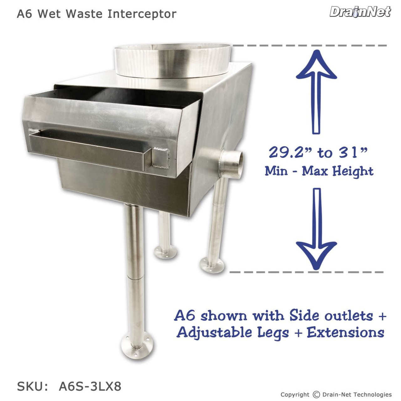 Garbage Disposal Replacement Unit (Tall Legs & Side Outlet)