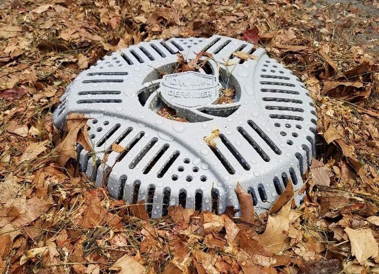 Stairwell Drain cover for grass and leaves