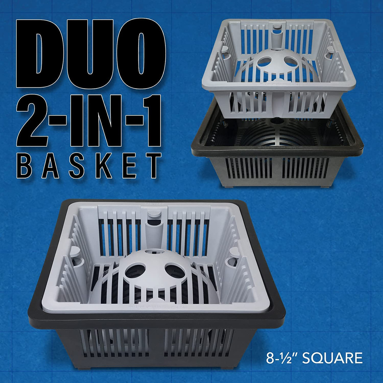 DUO 2-in-1 Floor Sink Basket - 8.5 inch Square