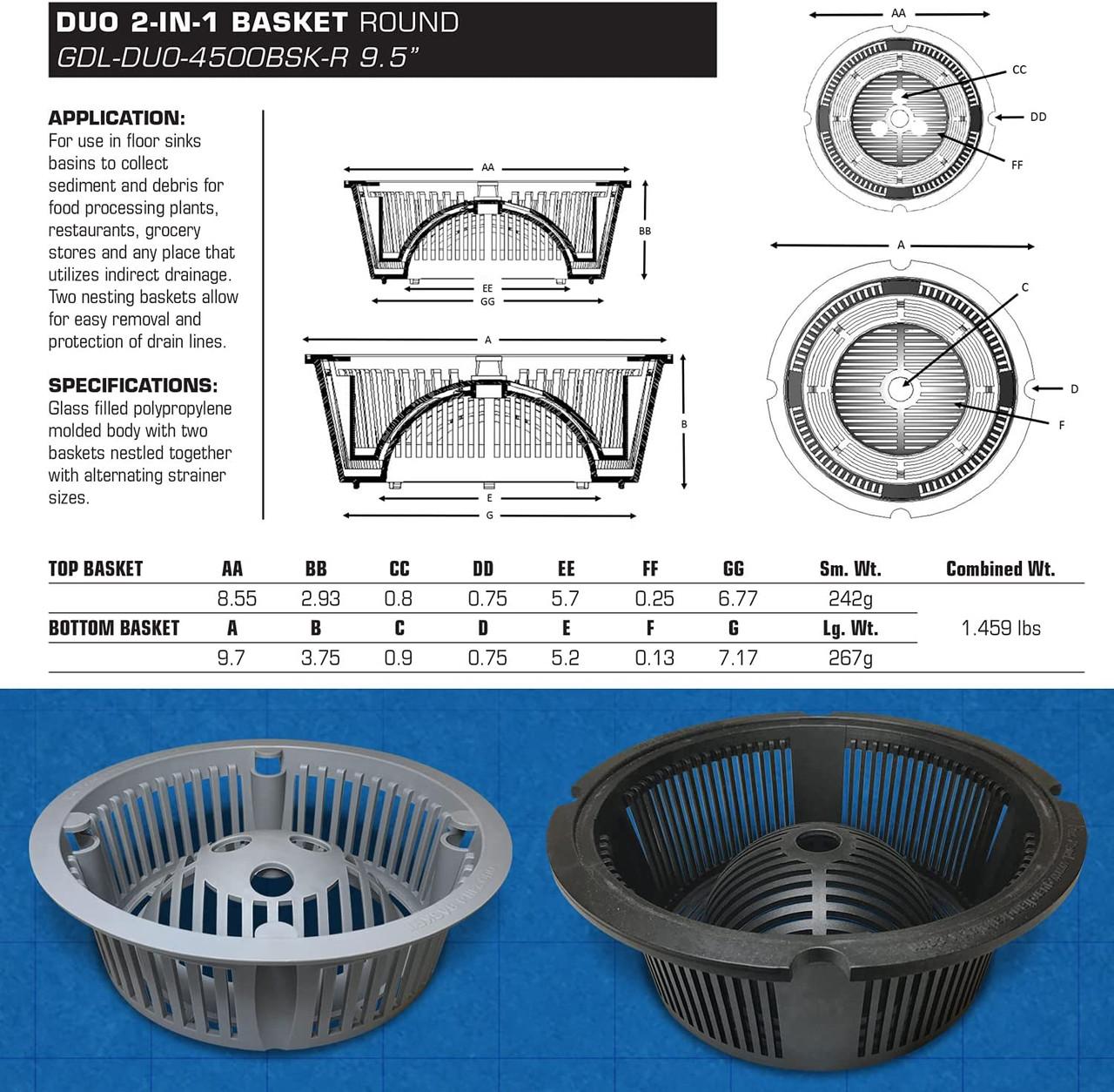 DUO 2-in-1 Floor Sink Basket Specs