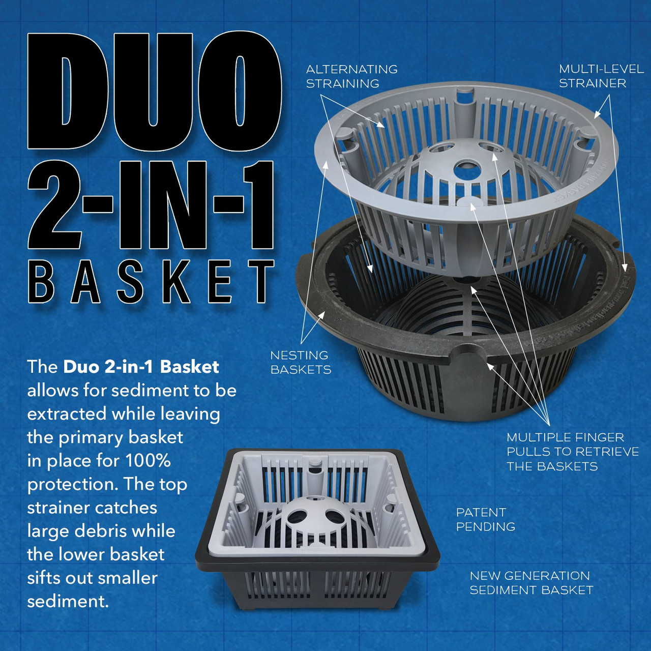 DUO 2-in-1 Floor Sink Basket - 9.5 inch Round
