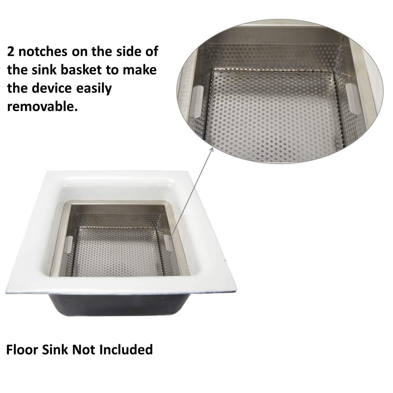 """8.5"""" x 8.5"""" x 3"""" Stainless Steel Perforated Drain Bucket"""