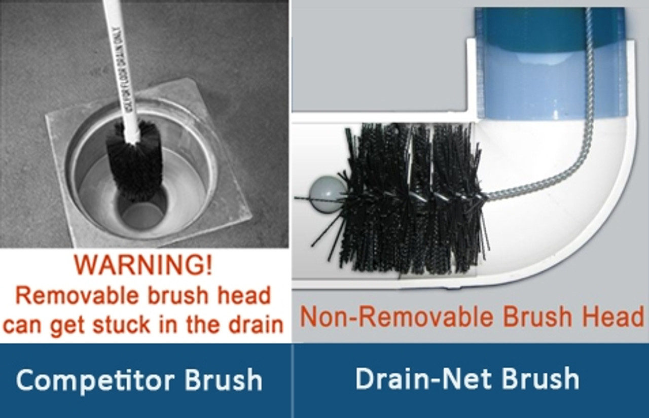 """Commercial Drain Cleaning Brush for 3"""" & 4"""" Drains with Splash Guard™"""