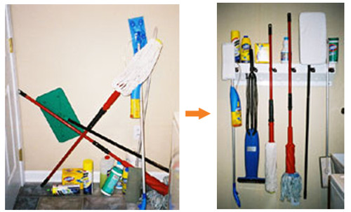 Mop and Broom Organizer - Before and After