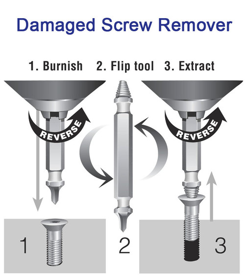 Damaged Screw Remover - 3 Piece Kit