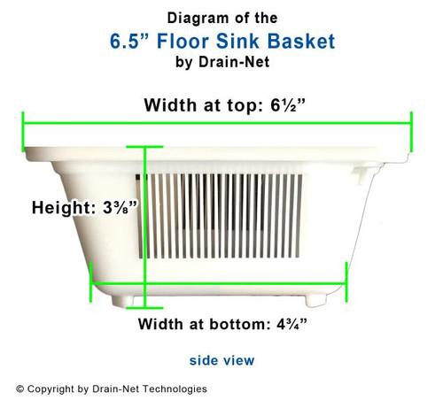 """6.5"""" Floor Sink basket Specs"""