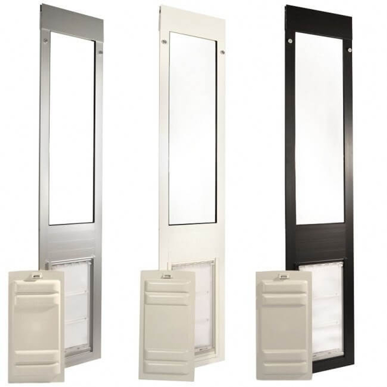Thermo Panel 3e Endura Flap pet doors come in satin (brushed aluminum) white and bronze (very dark brown) colors