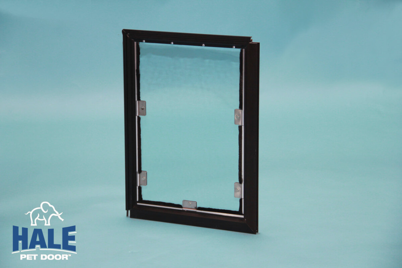 Hale Screen Dog Doors come in white arizona beige, satin (silver) and bronze (very dark brown) color options