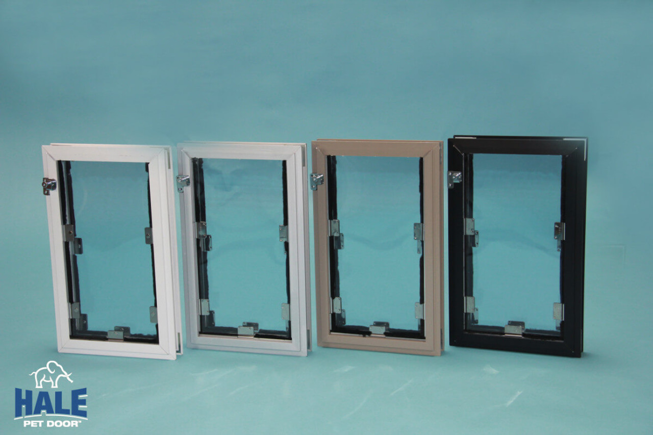 Hale In Glass dog doors come in four colors satin (silver) white, arizona beige, and bronze (dark brown)