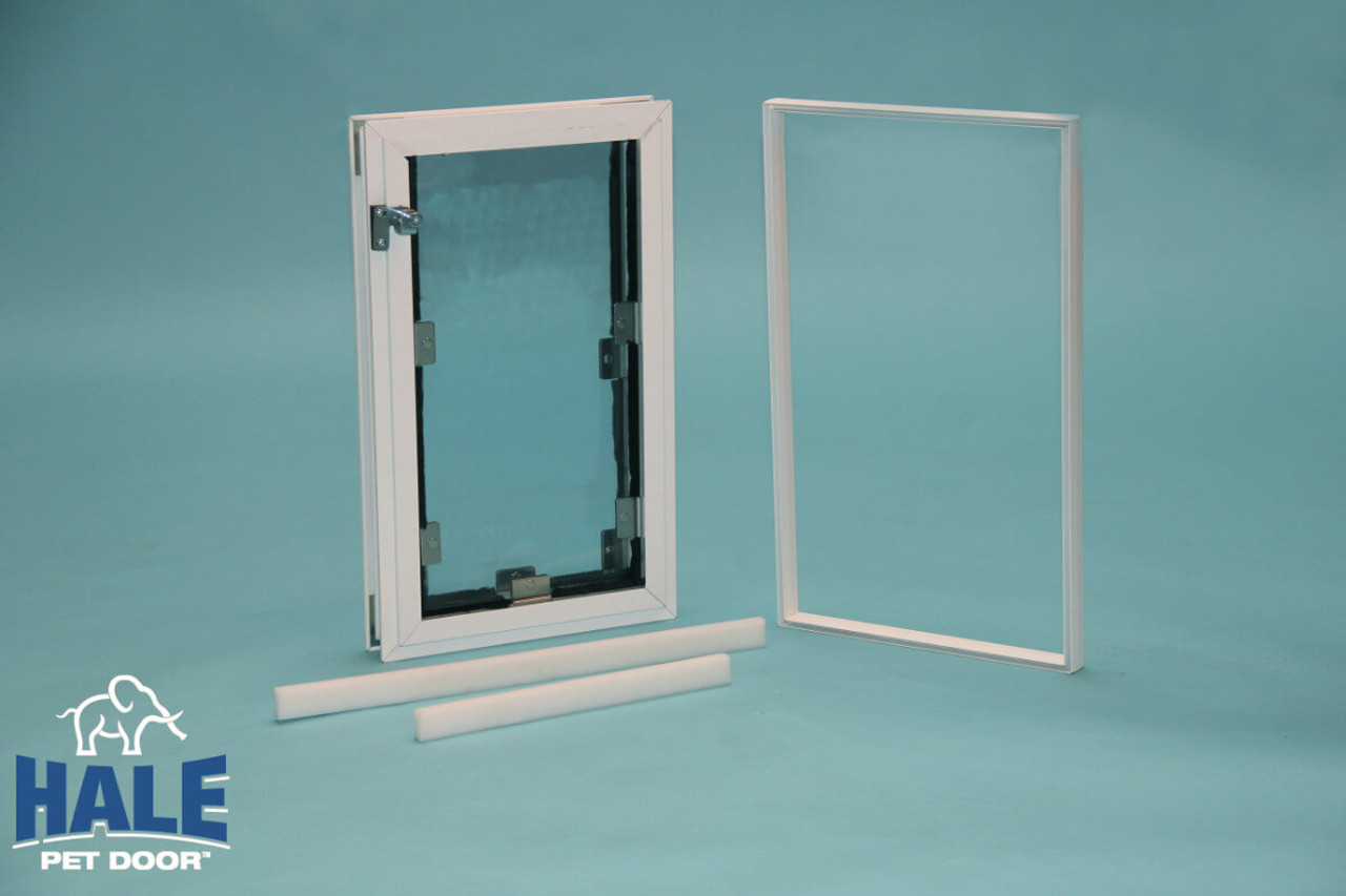 Hale In Glass dog doors for double pane windows are sold with the door the locking cover and the adapters to install on glass