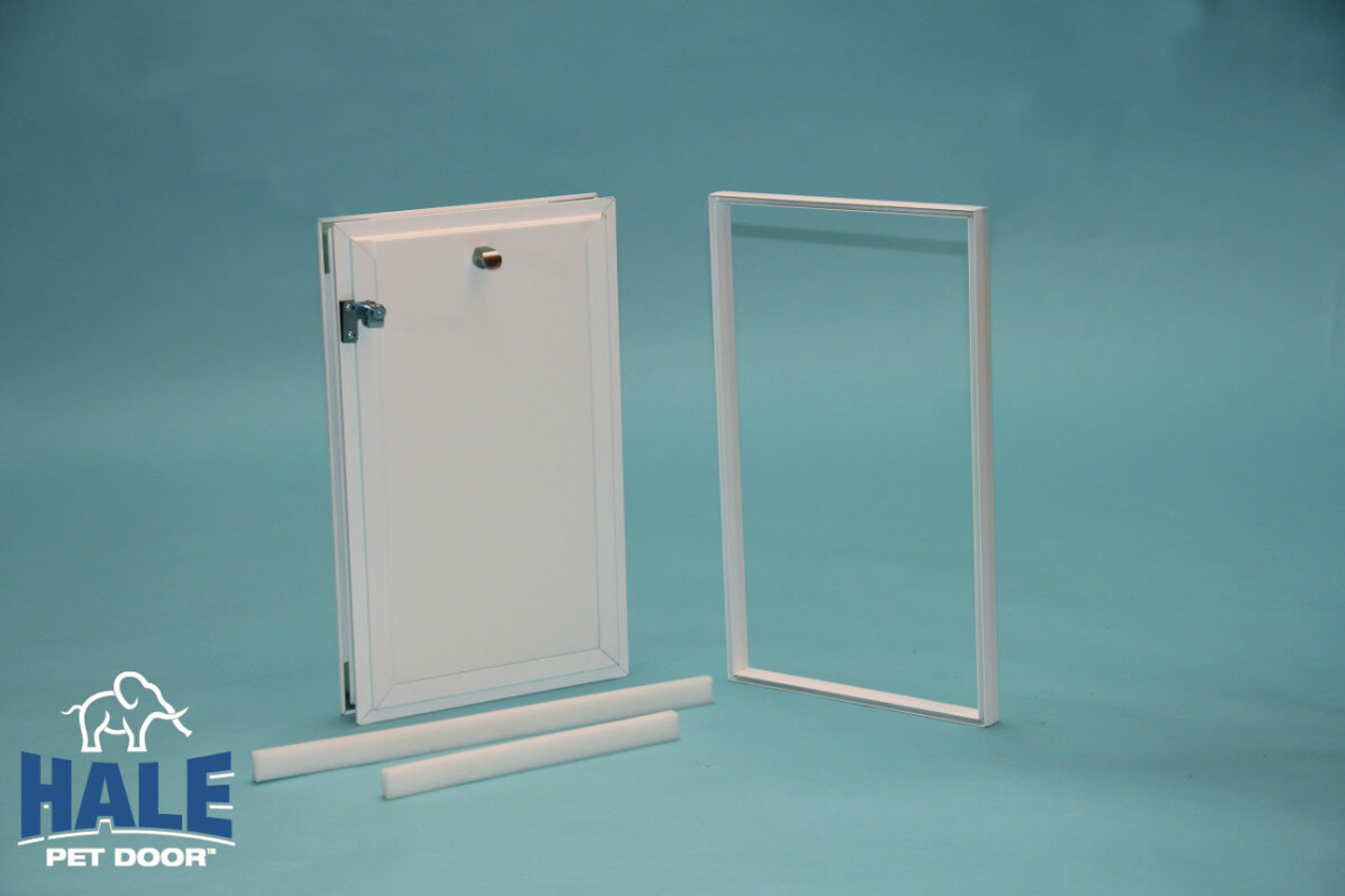Hale In Glass dog doors come with a security cover that slides into place and locks to the frame so that it cannot be removed from outside