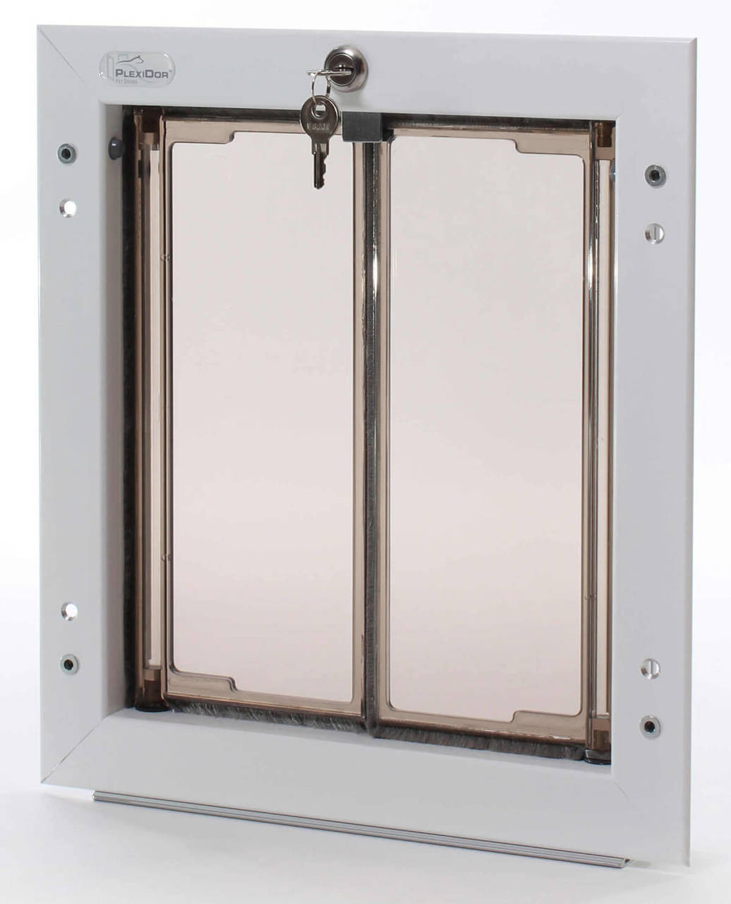 Plexidor doggy doors use a keyed lock which prevents the flaps from swinging and come with a steel cover for a more secure lock