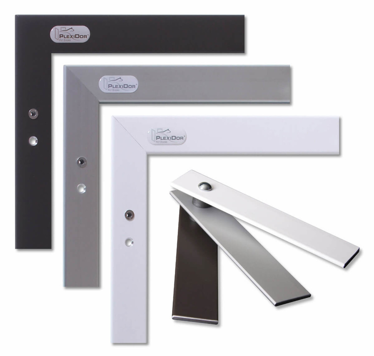 PlexiDor Wall pet doors come in white silver and bronze colors