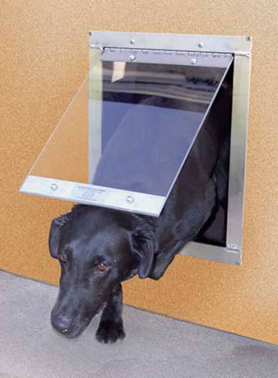 Gun Dog House Door easy dog door has an aluminum frame with a lexan flap and closes via gravity