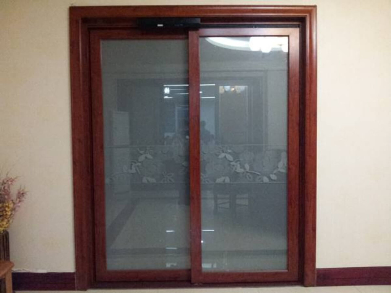 Autoslide motorized sliding glass door are unobtrusive and allow pets and people to come and go