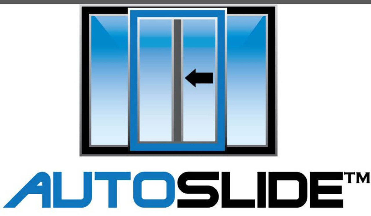 Autoslide electronic pet door opens a sliding glass door with a motor