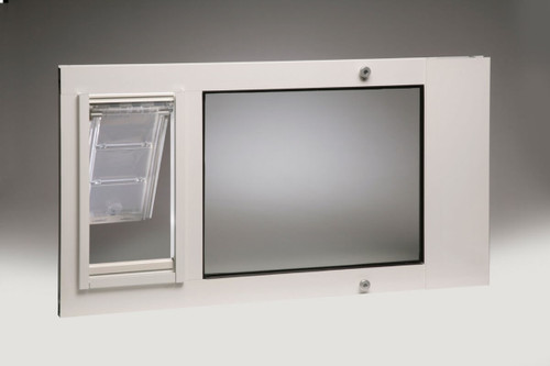 Thermo Sash 3e window mounted cat doors have dual pane low e glass and feature the weather tight Endura Flap
