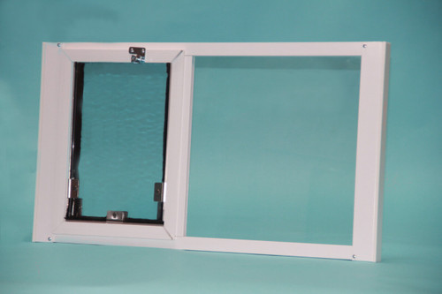 Hale Optiview pet door for windows is weather tight with dual pane glass and double flaps