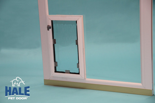 "Hale In Glass dog doors fit in single pane windows that are 3/16"" thick and double pane"