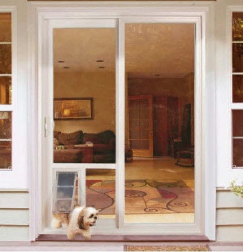 Pet Door Guys In Glass Doggy Doors is a replacement window for your sliding door or french door with a new dual pane glass window and pet door
