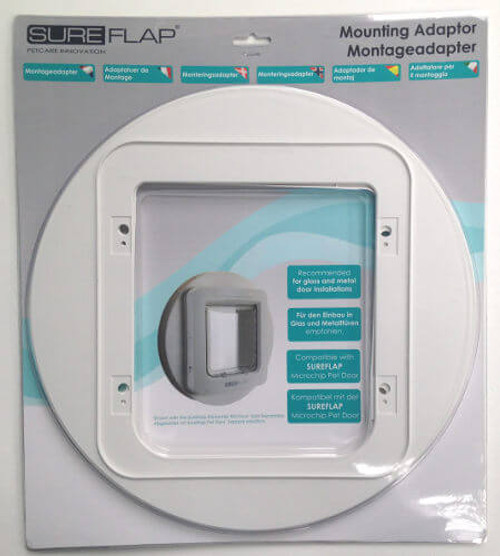 SureFlap mounting adapters come in a smaller size that fits the Microchip Cat Flap and DualScan and a larger one that fits the Pet Door Connect