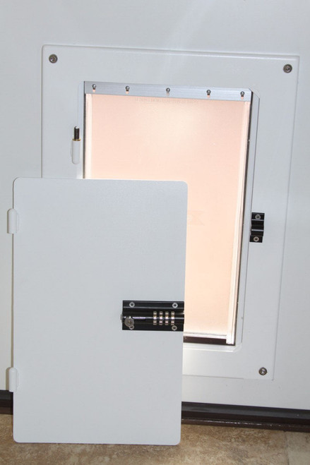 Watchdog Security Pet Doors provide security even with the largest dog doors by covering them with a heavy steel locking door