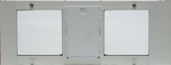 Ideal Fast Sash window pet doors have the pet door in the center of the aluminum frame and windows on either side