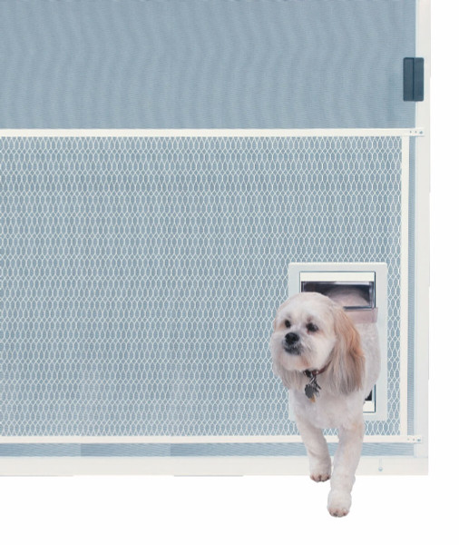 Ideal Screen Guard pet doors attach to the mesh protective guard that covers the lower half of a screen door