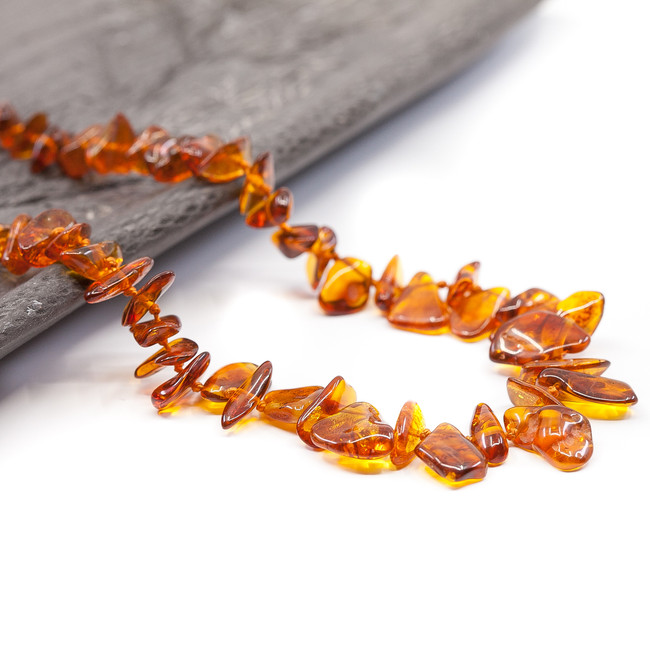 Adult polished cognac chips Baltic Amber healing necklace