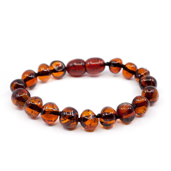 Polished cognac LUX baroque (7mm) amber teething anklet / bracelet