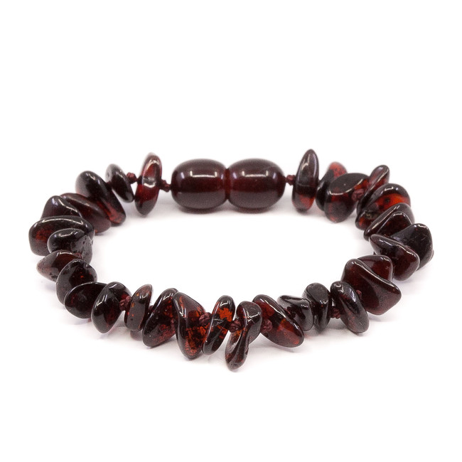 Polished cherry chips beads amber teething bracelet/ anklet