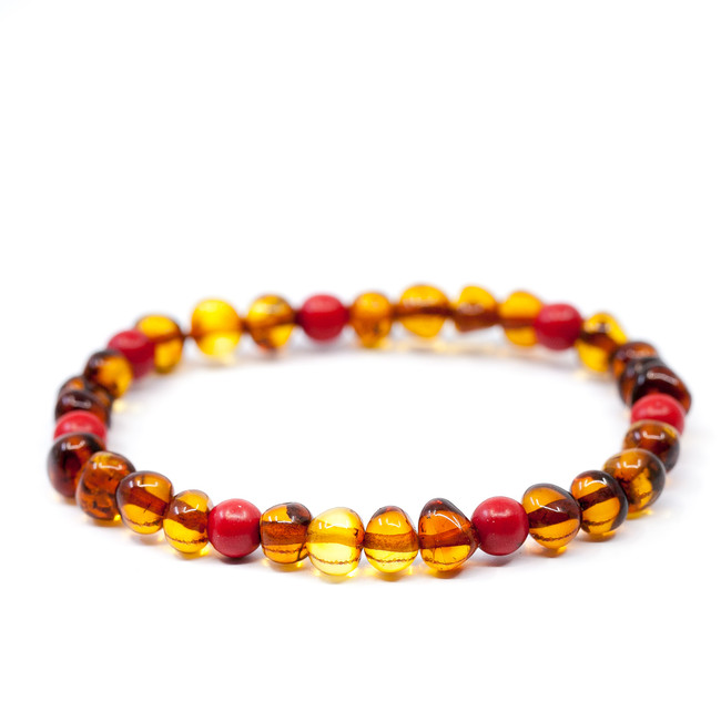 Adult polished cognac mixed red gemstone LUX baroque beads Baltic Amber healing bracelet