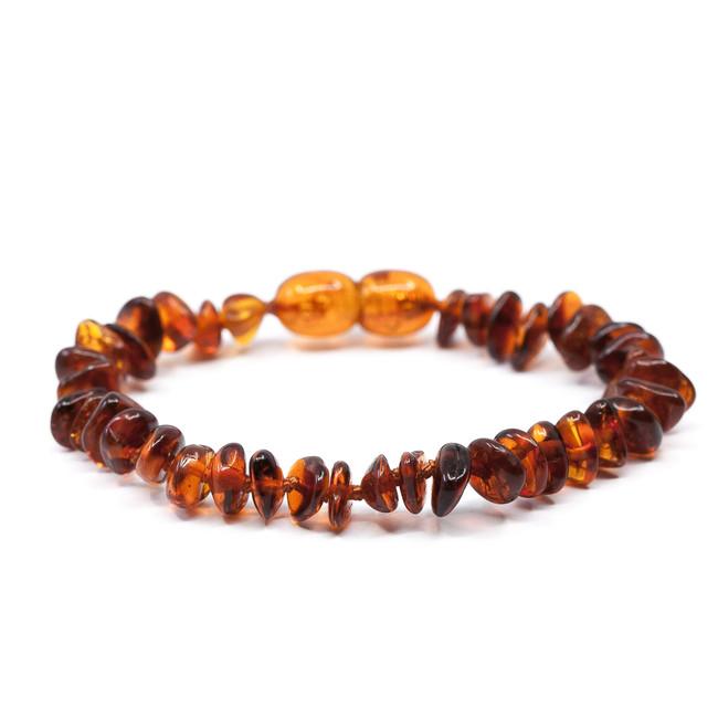 Polished dark cognac chips amber teething & colic anklet / bracelet