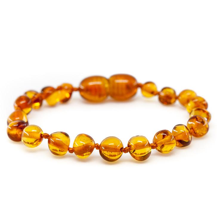Maximum strength Baltic Amber Teething bracelet / anklet • Polished cognac baroque