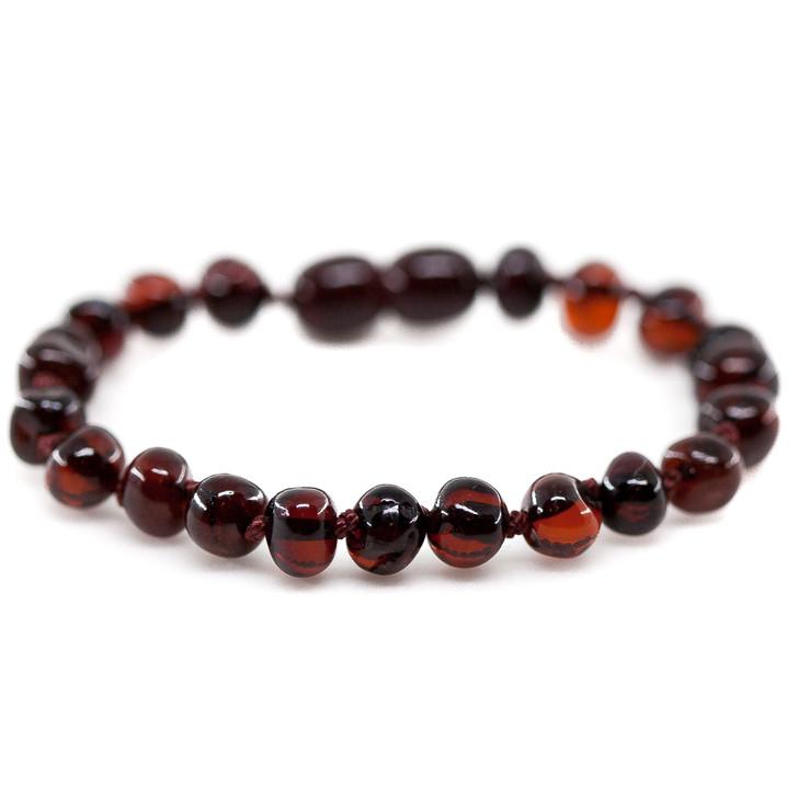 Amber teething & colic, reflux anklet / bracelet - Polished cherry baroque
