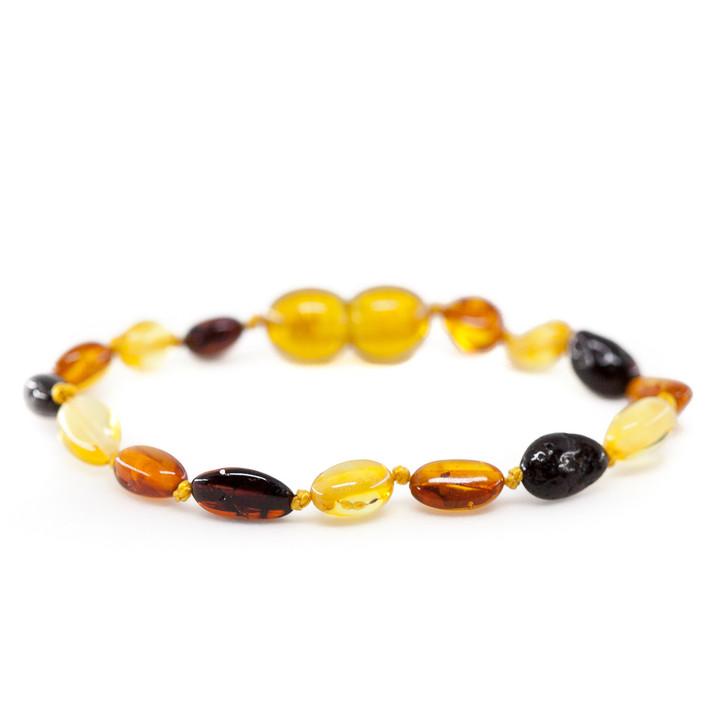 Baltic Amber bracelet / anklet for KIDS • Polished multicolour beans