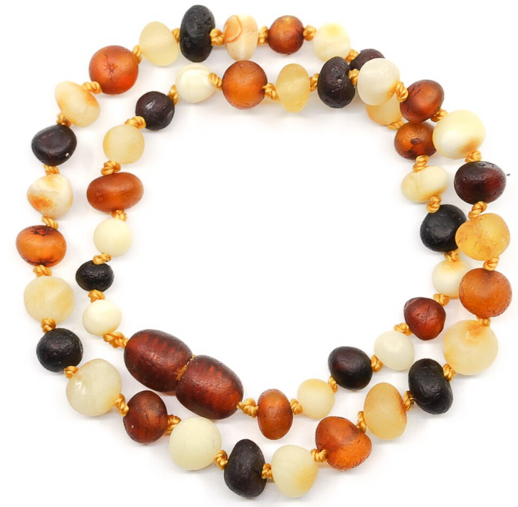 Maximum strength Amber Teething, Colic & Reflux necklace - raw multicolour baroque