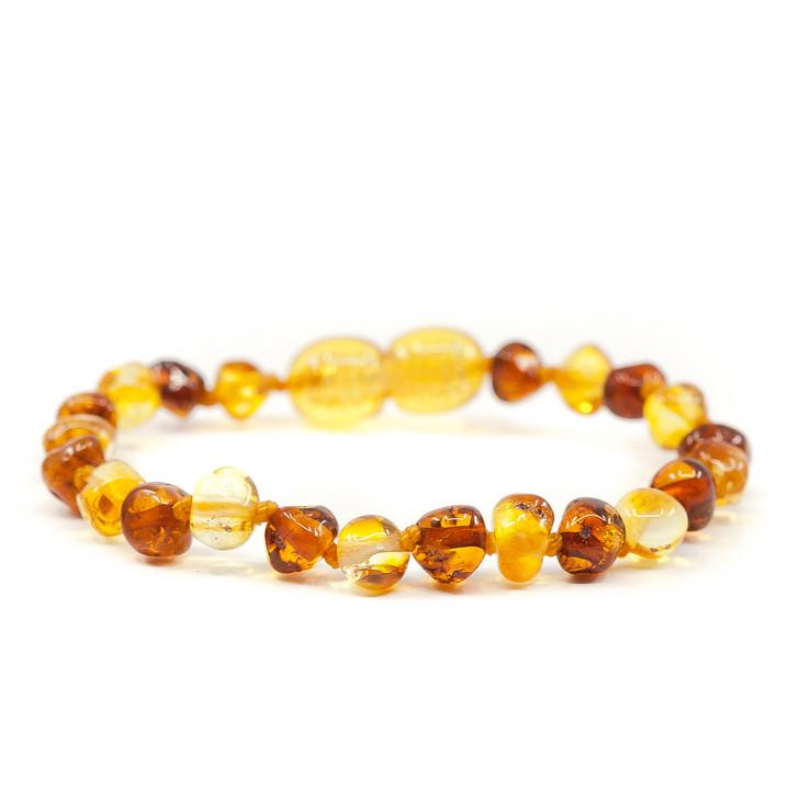 Baltic Amber bracelet / anklet for KIDS • Polished cognac & lemon baroque