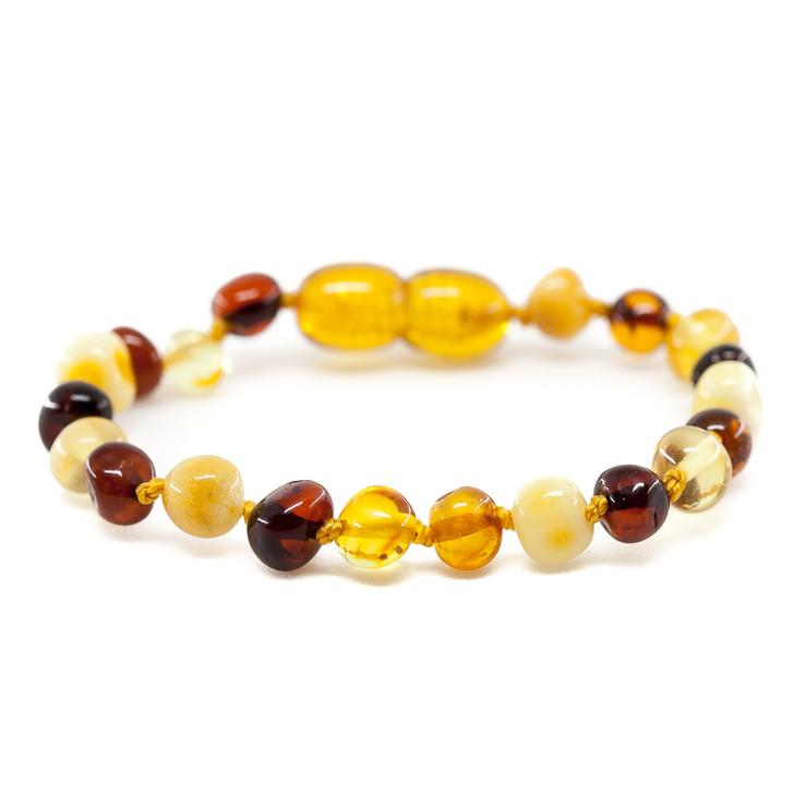 Amber teething & colic anklet / bracelet  - Maximum strength polished multicolour baroque