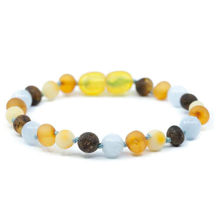 Amber Raw Multicolour maximum strength amber teething & colic bracelet with aquamarine