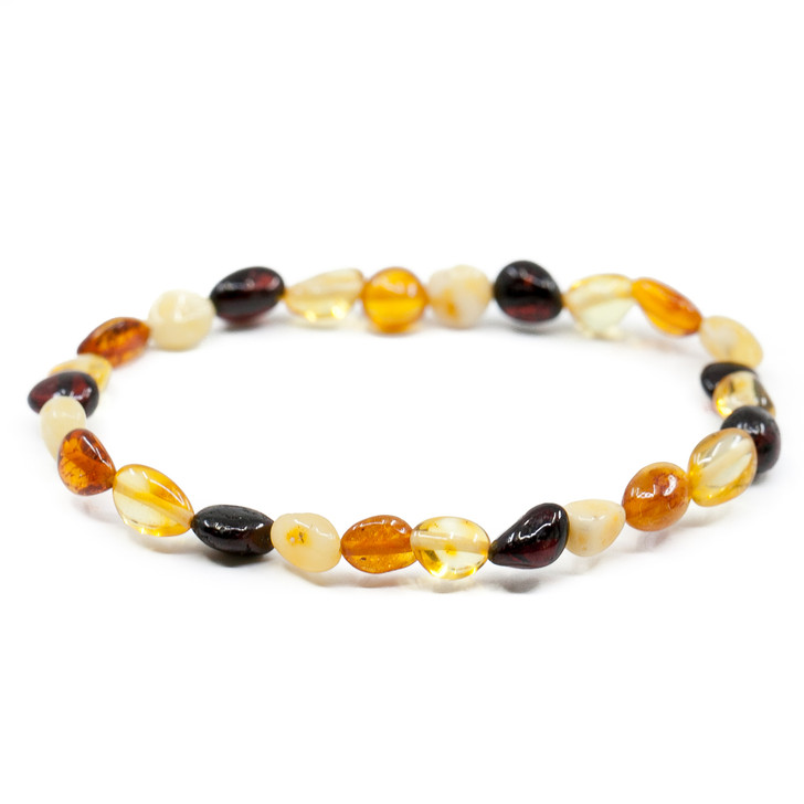 Baltic Amber Bracelet for ADULTS • Polished multicolour beans