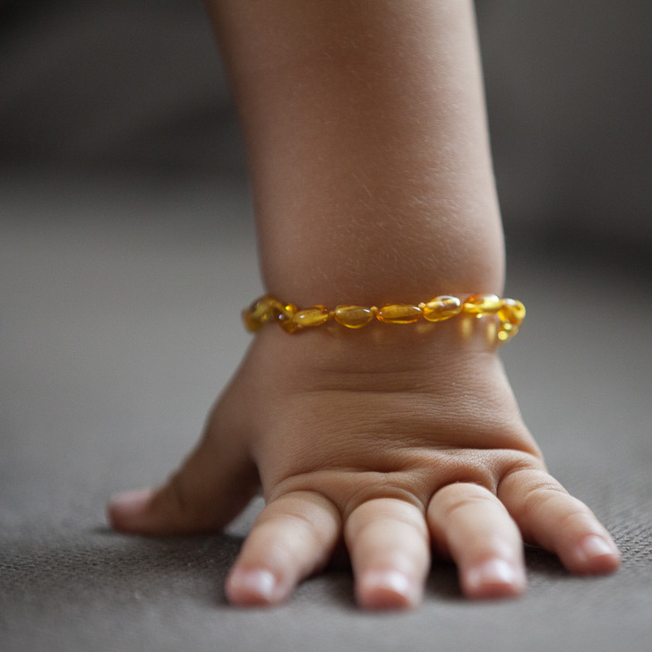 Maximum strength amber teething & colic anklet bracelet - polished honey beans