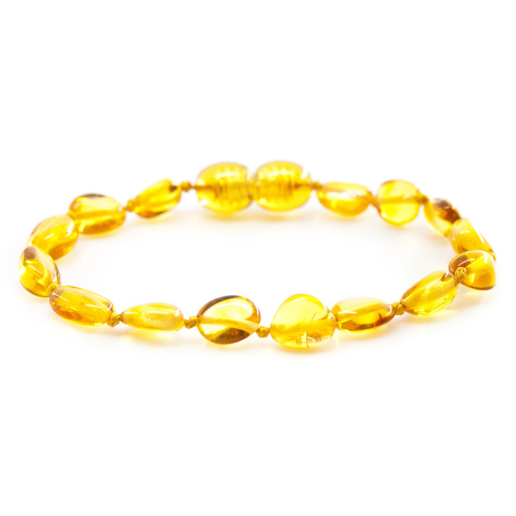 Baltic Amber bracelet / anklet for KIDS • Polished honey beans